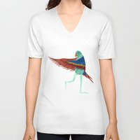 parrot V-neck T-shirts featuring Parrot by Jade Young Illustrations