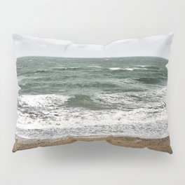 Land and sea under stormy clouds Pillow Sham
