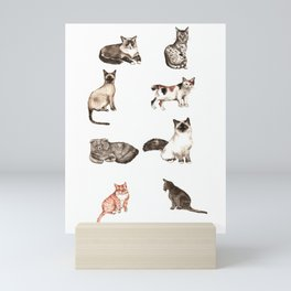 For cat lovers - watercolor of different cat breeds Mini Art Print