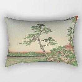 Spring Trees on Aqueduct Ukiyo-e Japanese Art Rectangular Pillow
