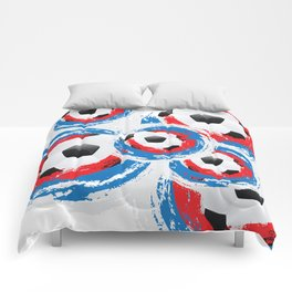 Football Ball and red, blue, white Strokes Comforters