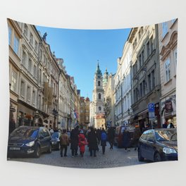 European Town Streetscape Wall Tapestry