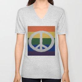 Rainbow Peace Sign Unisex V-Neck