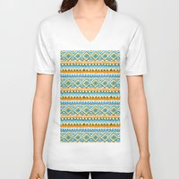ikat V-neck T-shirts featuring Desert Sunrise Ikat by virginia odien
