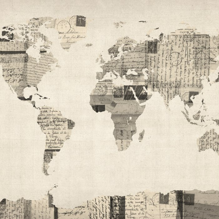 Map of the World Map from Old Postcards Comforters