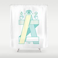 dragonball z Shower Curtains featuring A to Z by Steven Toang