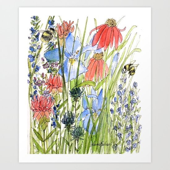 Botanical Garden Wildflowers and Bees Art Print by Between ...