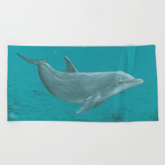 Shallow Reef Dolphin ~ Acrylic Beach Towel