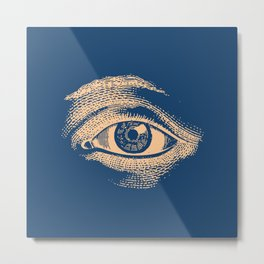 Retro Vintage Blue Eye Pattern Metal Print