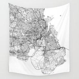 Copenhagen White Map Wall Tapestry