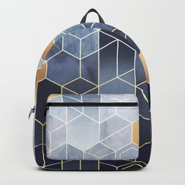 Geometric abstraction of hexagons on a blue relief background with gold elements. Fresco for interior wall mural. Vintage modern home décor. Backpack