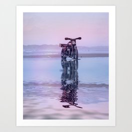 Where the Journey  begins Motorcycle at the Water Sunset Art Print
