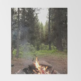 Backpacking Camp Fire Throw Blanket