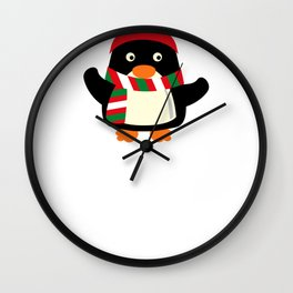 Christmas Penguin Winter Scarf Antlers Wall Clock