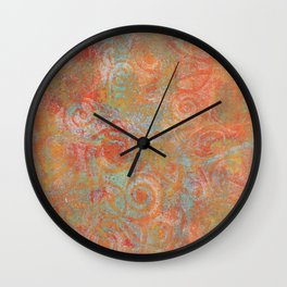 Gelatin monoprint 19 Wall Clock