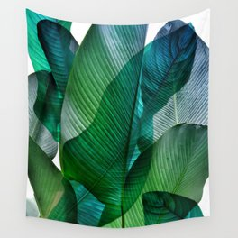 Palm leaf jungle Bali banana palm frond greens Wall Tapestry
