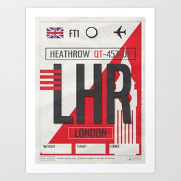 Vintage London Heathrow Luggage Tag Poster Art Print
