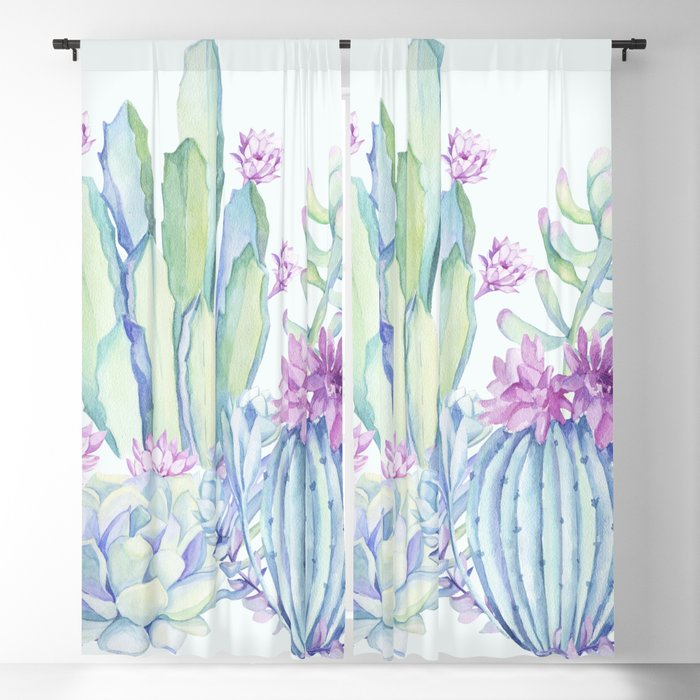 Mixed Cacti Light Blue #society6 #buyart Blackout Curtain