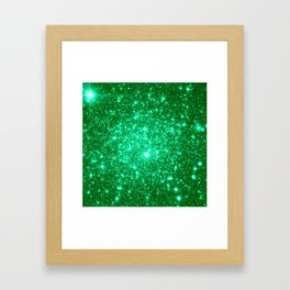 Emerald Green Glitter Stars Framed Art Print