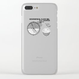 Geographical clock dial Thompson patent art Clear iPhone Case