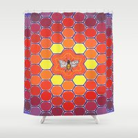 sacred geometry Shower Curtains featuring Bee Sacred Geometry by Elspeth McLean