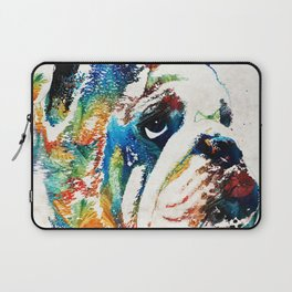 Bulldog Pop Art - How Bout A Kiss - By Sharon Cummings Laptop Sleeve