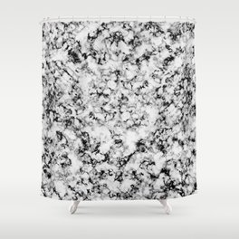 Black and White Veined Faux Marble Repeat Shower Curtain
