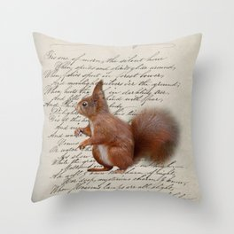 autumn fall seasonal shabby french scripts woodland animal squirrel Throw Pillow