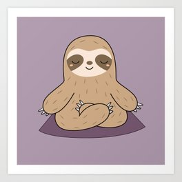 Kawaii Cute Yoga Sloth Art Print