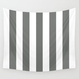 Nickel grey -  solid color - white vertical lines pattern Wall Tapestry