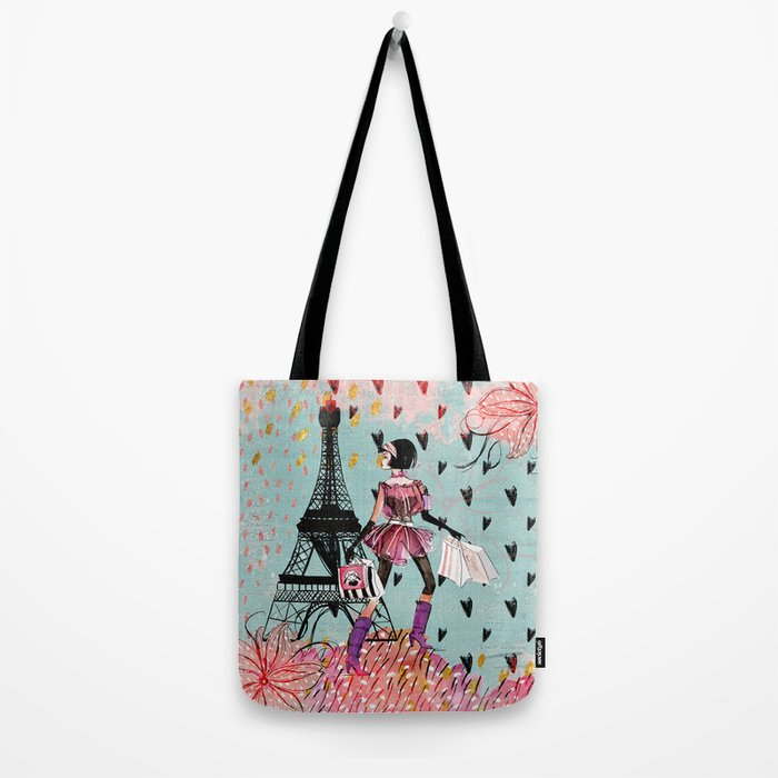 Fashion girl in Paris- Shopping at the EiffelTower Tote Bag
