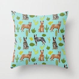 Australian Cattle Dog cactus pet friendly dog breed dog pattern art Throw Pillow