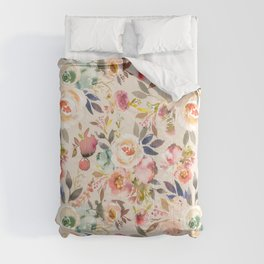 Hand painted ivory pink brown watercolor country floral Comforters