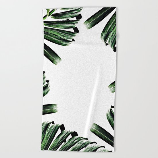 Palm Leaf Watercolor Pattern #society6 #decor #buyart Beach Towel
