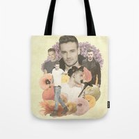 liam payne Tote Bags featuring Liam Payne + Flowers by Ladsandstuff