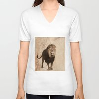 lion V-neck T-shirts featuring Lion by haroulita