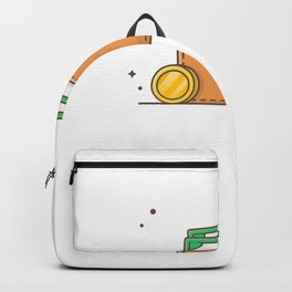 Wallet with money and stack of gold coins 1 Backpack