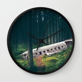 Surreal Iceland Plane Crash-Sólheimasandur Plane Crash in a Swedish Forest Wall Clock