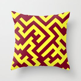 Electric Yellow and Burgundy Red Diagonal Labyrinth Throw Pillow