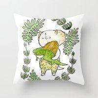 dinosaur Throw Pillows featuring Dinosaur  by MAKI