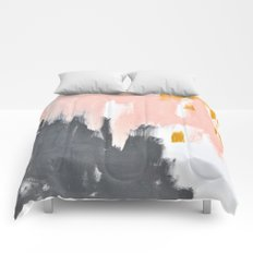 Gray and pink abstract Comforters