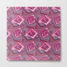 Unravelled Pink and Grey Metal Print