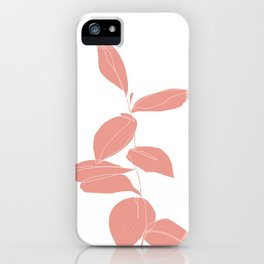 One line plant drawing - Berry Pink iPhone Case