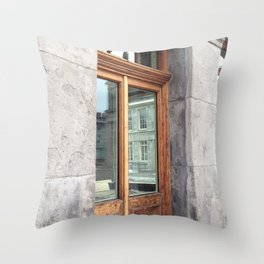 Old Montreal Wood Window Throw Pillow