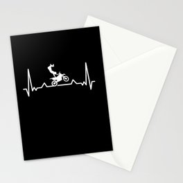Motocross Heartbeat Motorcycle for Biker Stationery Cards