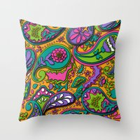 paisley Throw Pillows featuring Paisley by Shelly Bremmer