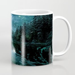 Winter Wonderland Forest Green Teal : A Cold Winter's Night Coffee Mug