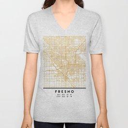 FRESNO CALIFORNIA CITY STREET MAP ART Unisex V-Neck