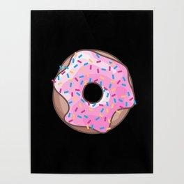 Pink Donut on Black Poster