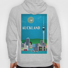 Auckland, New Zealand - Skyline Illustration by Loose Petals Hoody